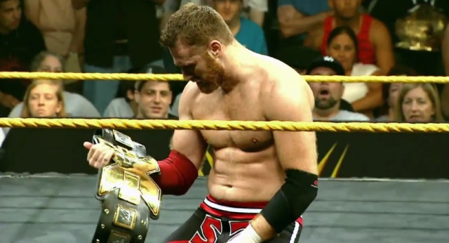 Sami Zayn with the NXT Title